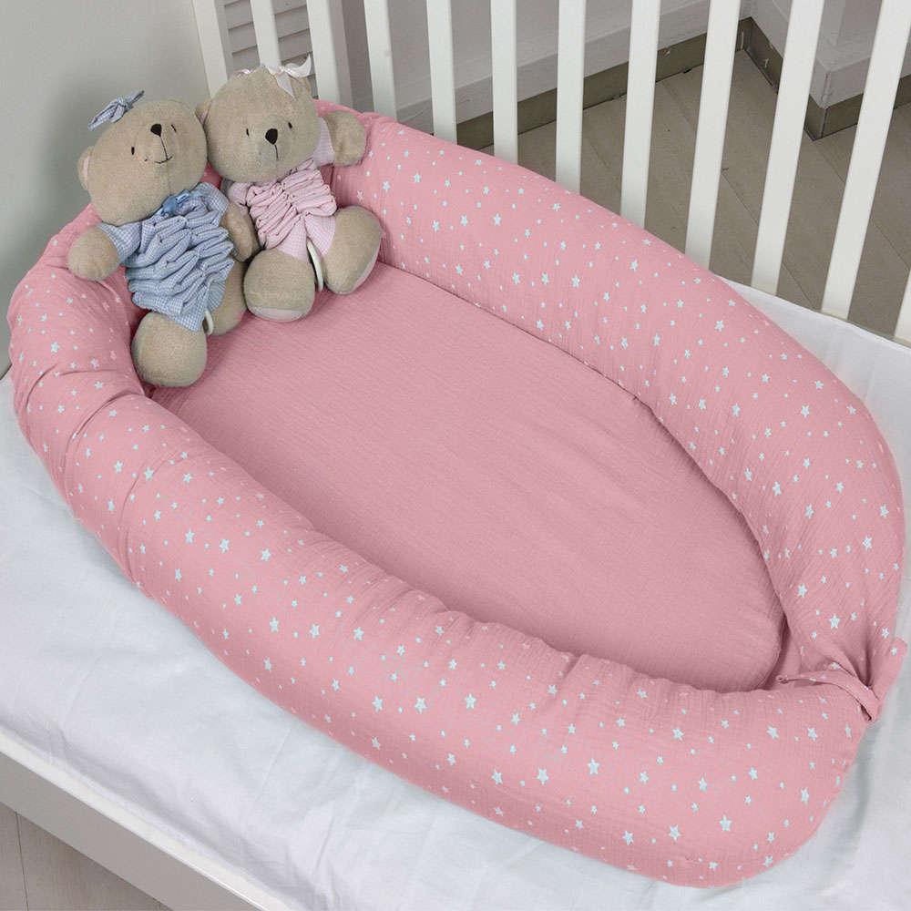 Φωλιά Βρεφική Διπλής Όψης Σχ. 372 Muslin Pink Baby Oliver 55x95cm