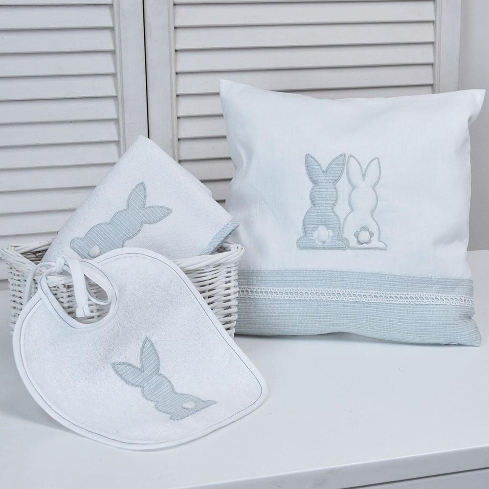 Μαξιλάρι Διακοσμητικό Παιδικό (Με Γέμιση) Des: 356-Bunny White-Grey Baby Oliver 30X30 35x35cm
