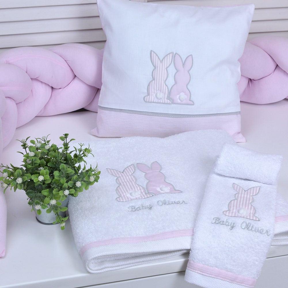 Μαξιλάρι Διακοσμητικό Παιδικό (Με Γέμιση) Des: 357-Bunny White-Pink Baby Oliver 30X30 35x35cm