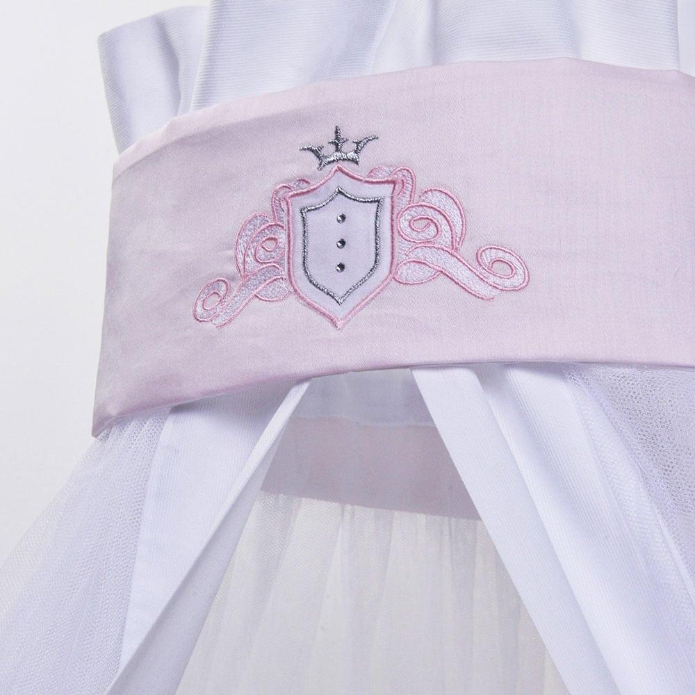 Κουνουπιέρα Βρεφική Des: 382-Satin White-Pink Baby Oliver 180x550cm