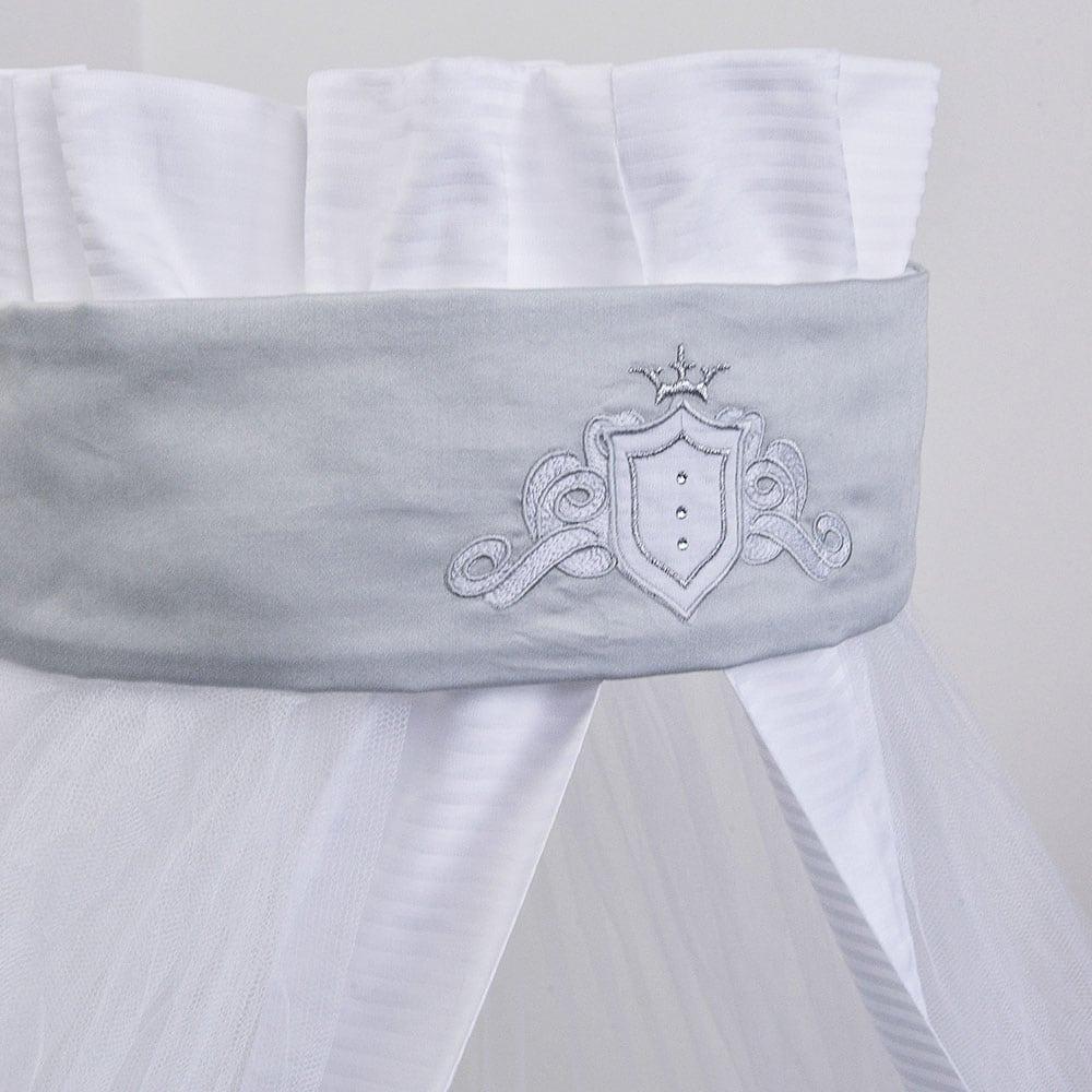 Κουνουπιέρα Βρεφική Des: 383-Satin White-Grey Baby Oliver 180x550cm
