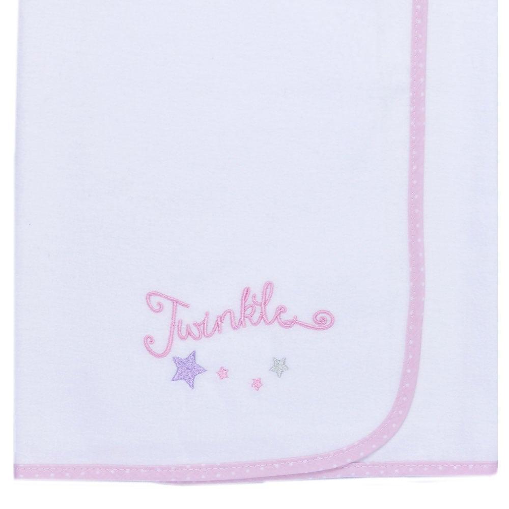 Πάνα Βρεφική Φανελένια Des: 352-Twinkle Twinkle White-Pink Baby Oliver 80x80cm
