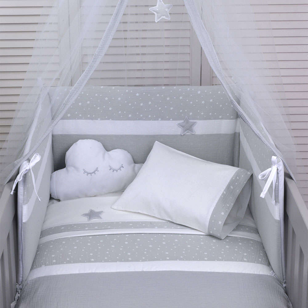 Σεντόνι Βρεφικό Σετ 3Τμχ Des: 370-Muslin Grey Baby Oliver Λίκνου 75x100cm