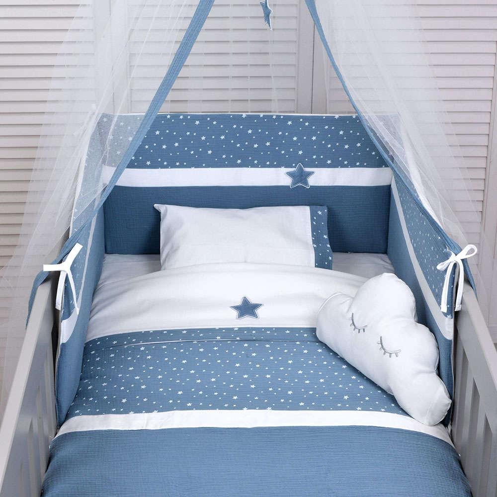Σεντόνι Βρεφικό Σετ 3Τμχ Des: 374-Muslin Blue Baby Oliver Λίκνου 75x100cm