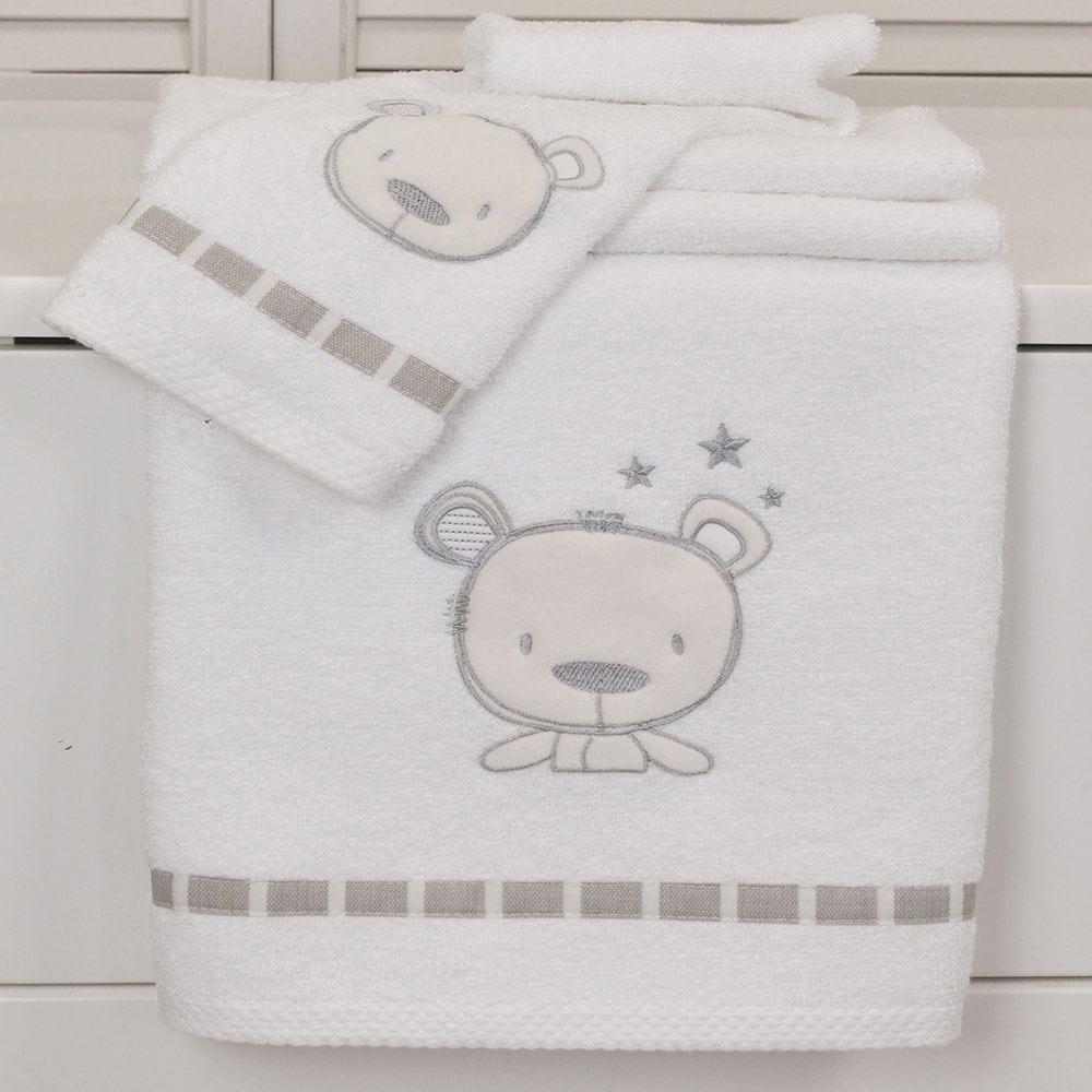 Πετσέτες Βρεφικές Σετ 2Τμχ Des: 350-Sweet Teddy White-Beige Baby Oliver Σετ Πετσέτες 70x120cm