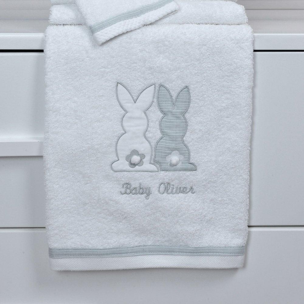 Πετσέτες Βρεφικές Σετ 2Τμχ Des: 356-Bunny White-Grey Baby Oliver Σετ Πετσέτες 70x120cm