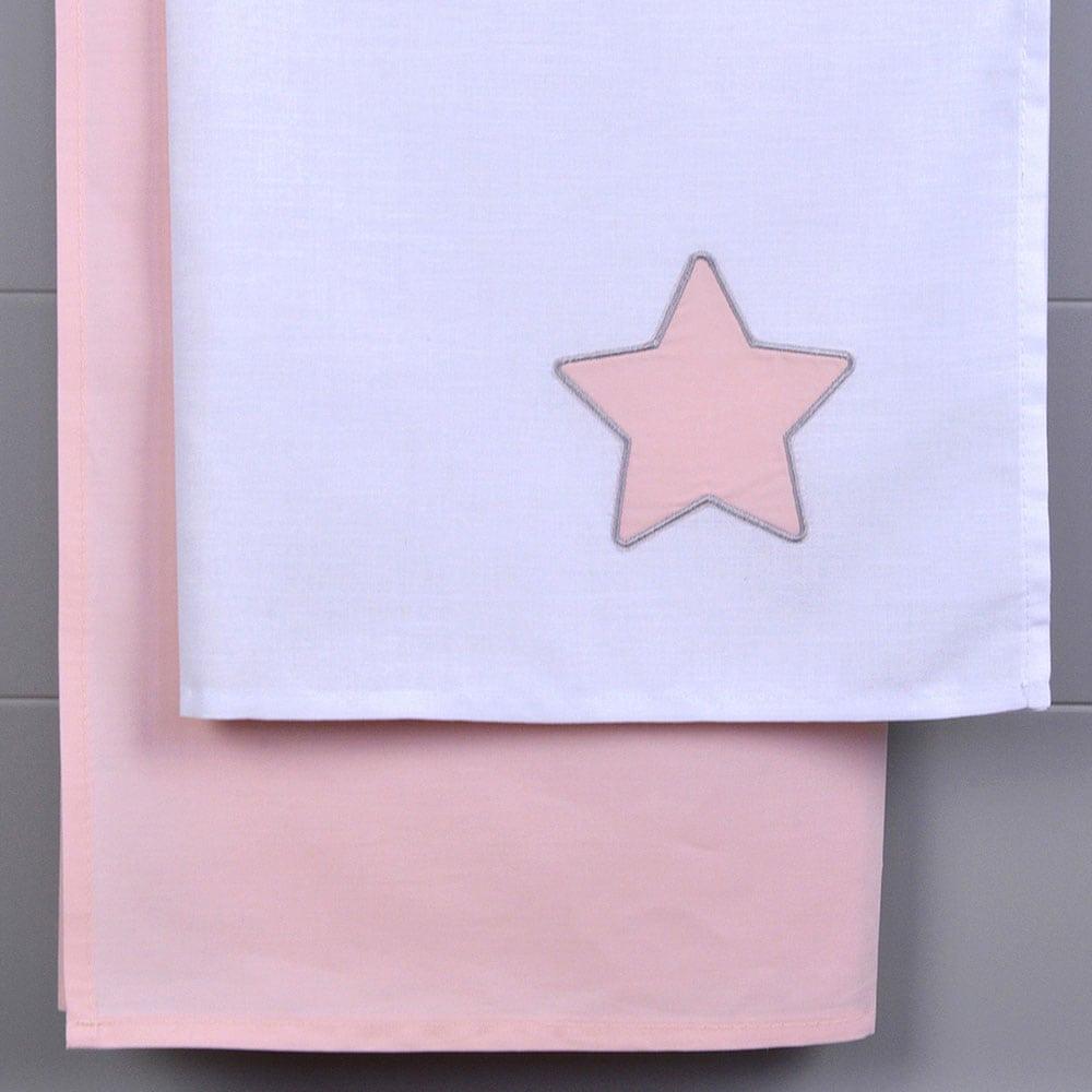 Σεντόνια Βρεφικά Σετ 2Τμχ Des. 138 White-Pink Baby Oliver Λίκνου 80x110cm