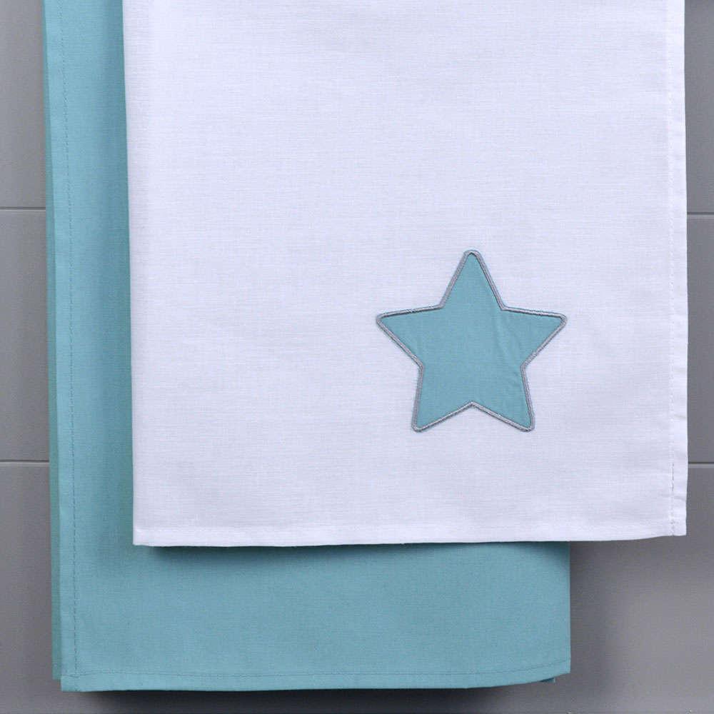 Σεντόνια Βρεφικά Σετ 2Τμχ Des. 139 White-Mint Baby Oliver Λίκνου 80x110cm