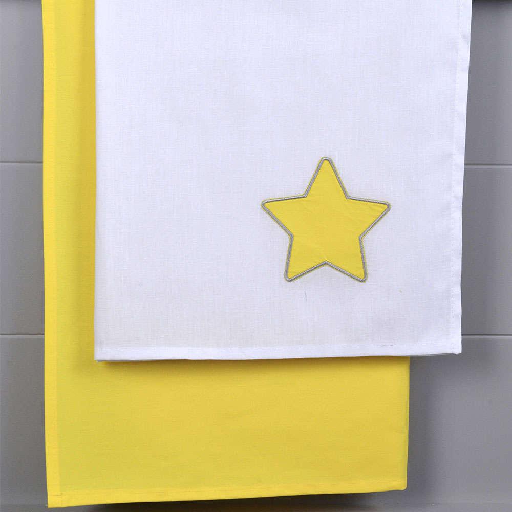 Σεντόνια Βρεφικά Σετ 2Τμχ Des. 140 White-Yellow Baby Oliver Λίκνου 80x110cm