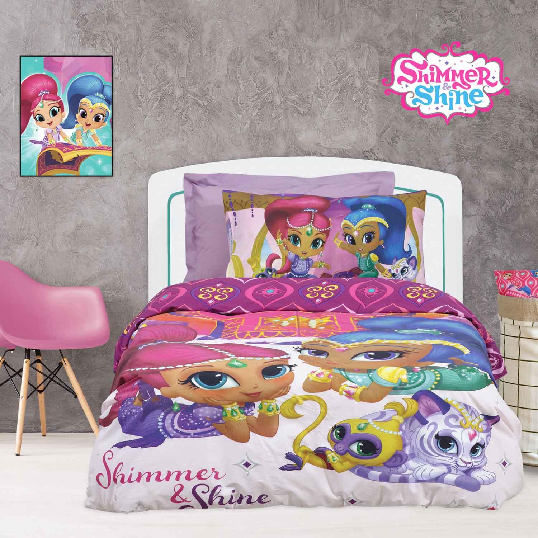 Παπλωματοθήκη Παιδική Σετ 5001 Shimmer & Shine Fuchsia-Purple Das Baby Μονό 160x240cm