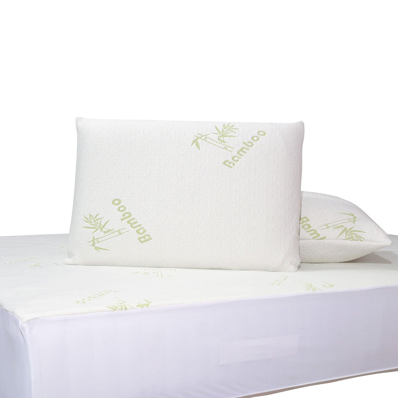 Μαξιλαροθήκες Σετ 2τμχ.Bamboo 1097 White-Green Das Home 50Χ70 50x70cm