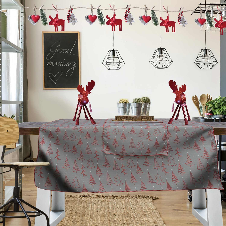 Τραπεζομάντηλο Christmas Kitchen 551 Grey-Red Das Home 150X150