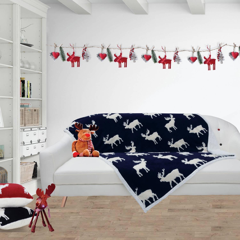 Κουβέρτα Καναπέ Fleece Christmas 408 Blue Das Home 150X180 130x170cm