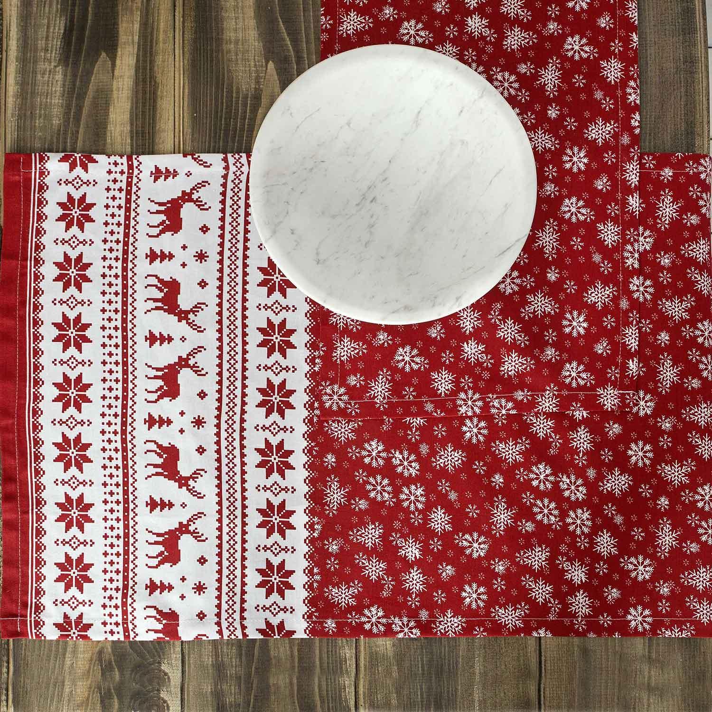 Σουπλά Σετ Rudolph White-Red Nima 30x50cm