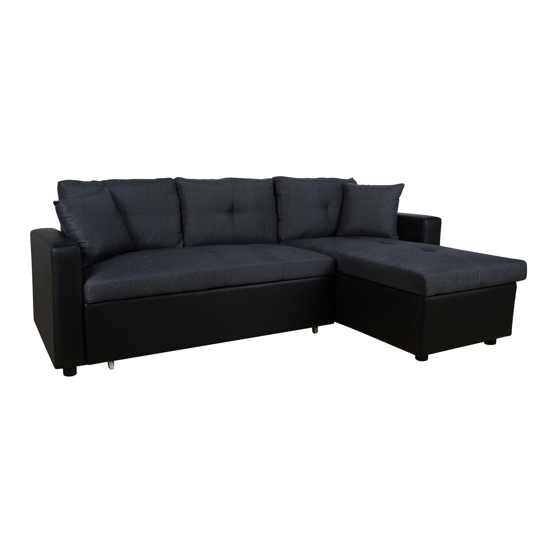 Καναπές - Κρεβάτι Γωνία HM3028.01 Γκρι - Μαύρο