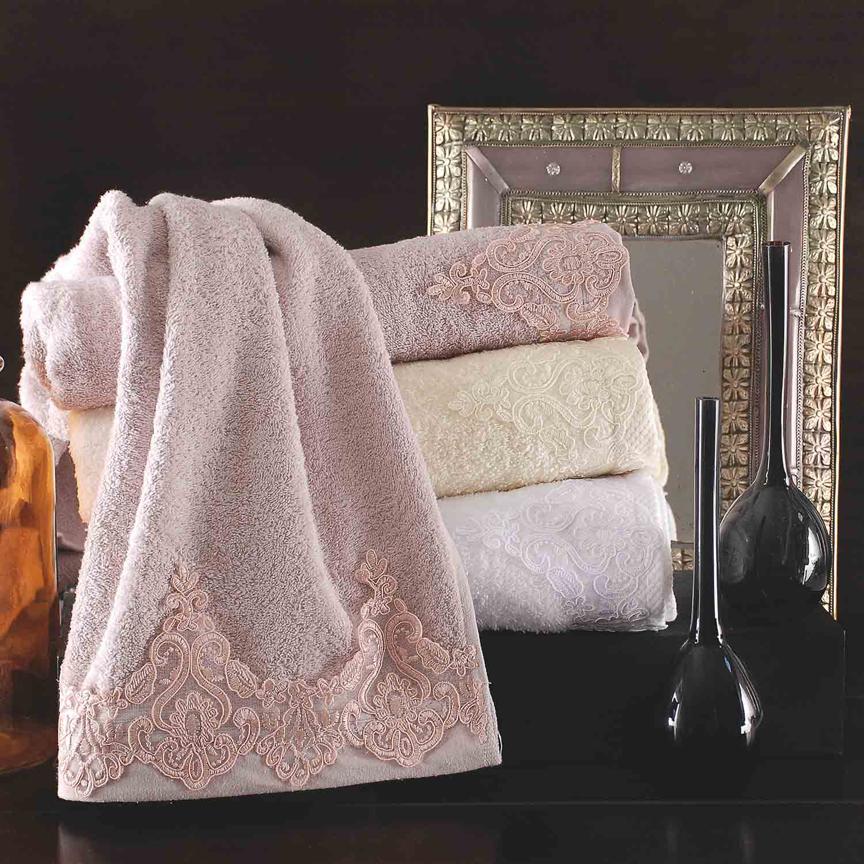 Πετσέτες Σετ με Δαντέλα Lithos Pink Ρυθμός 3τμχ Σετ Πετσέτες