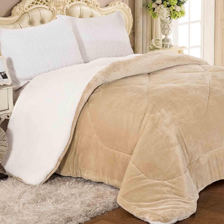 Κουβέρτα Quilt flannel & Sherpa 805 Off-White Adam Home Μονό 160x220cm