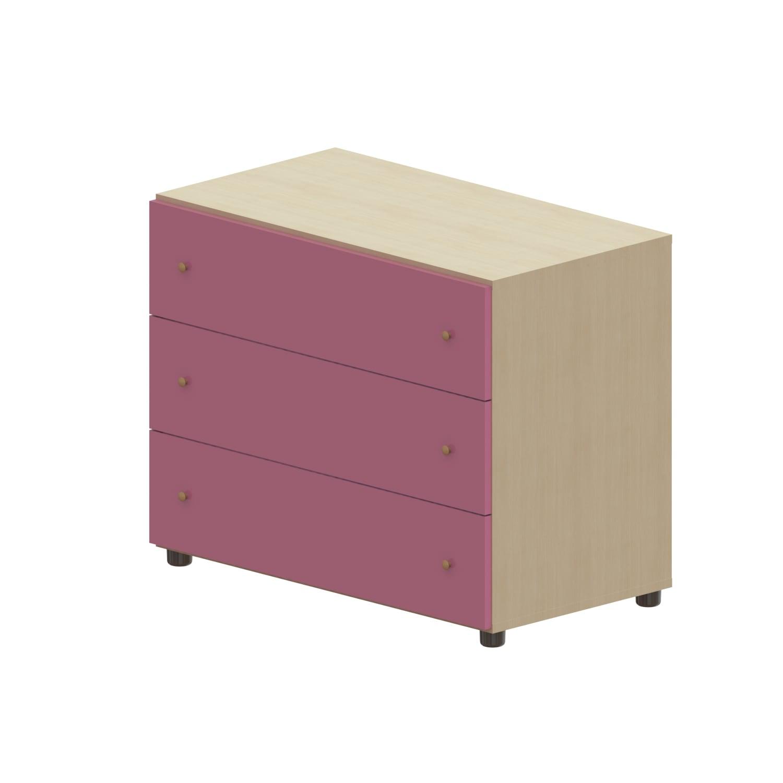 Συρταριέρα Παιδική Child 3 Oak Natural-Pink 90X69X48 cm