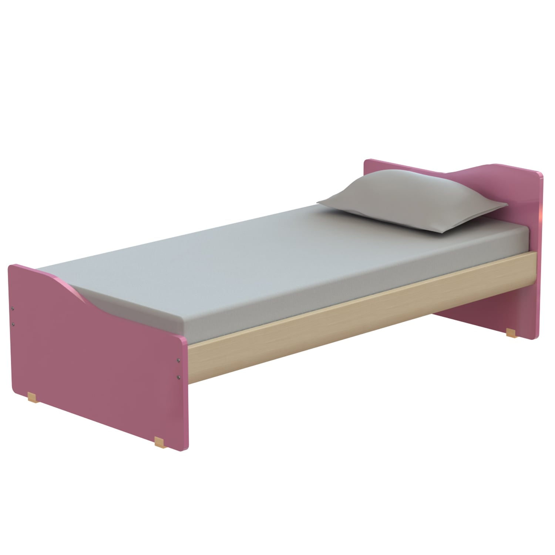 Κρεβάτι Παιδικό Tetra Oak Natural-Pink 207X119 cm Ημίδιπλο