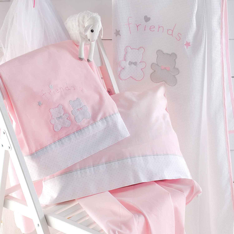 Σεντόνια Βρεφικά Σετ 3τμχ Bip & Pip Pink-White Ρυθμός Κούνιας 100x160cm