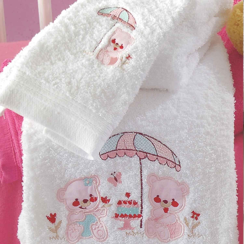Πετσέτες Παιδικές Σετ Cake White – Pink Ρυθμός 2τμχ Σετ Πετσέτες