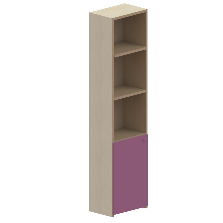 Βιβλιοθήκη Παιδική Με Ράφια+Ντουλάπι Dali Oak Natural-Pink 48X25X195 cm