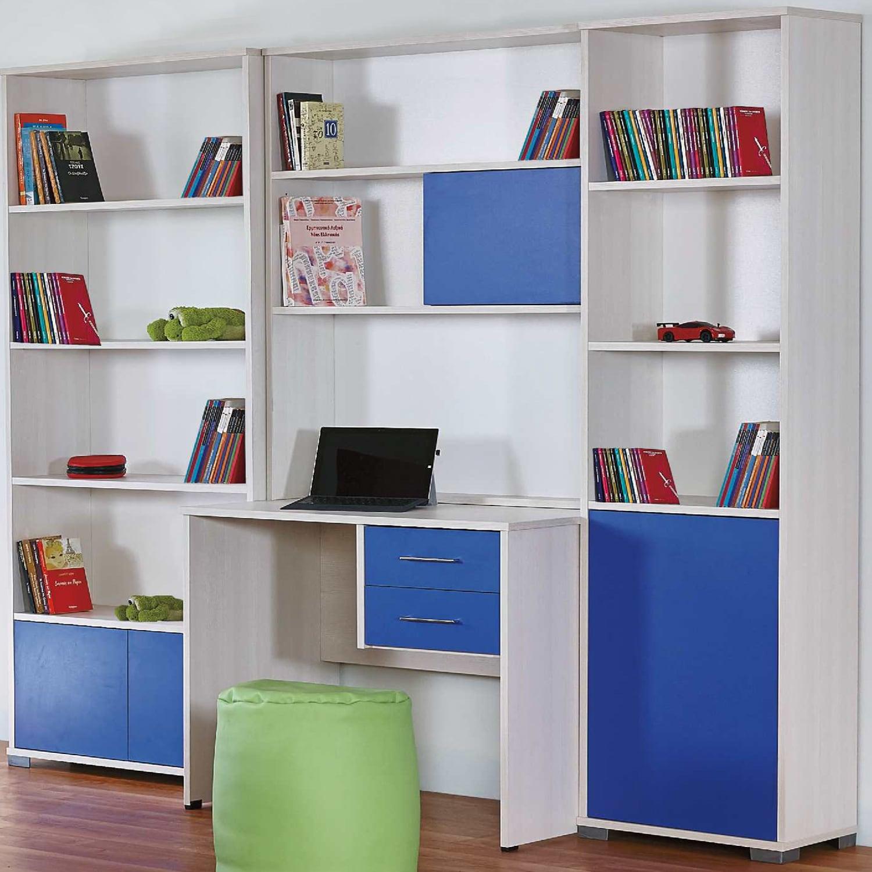Βιβλιοθήκη Σύνθεση & Γραφείο Lilalo Light Grey-Blue 220X32X187 cm