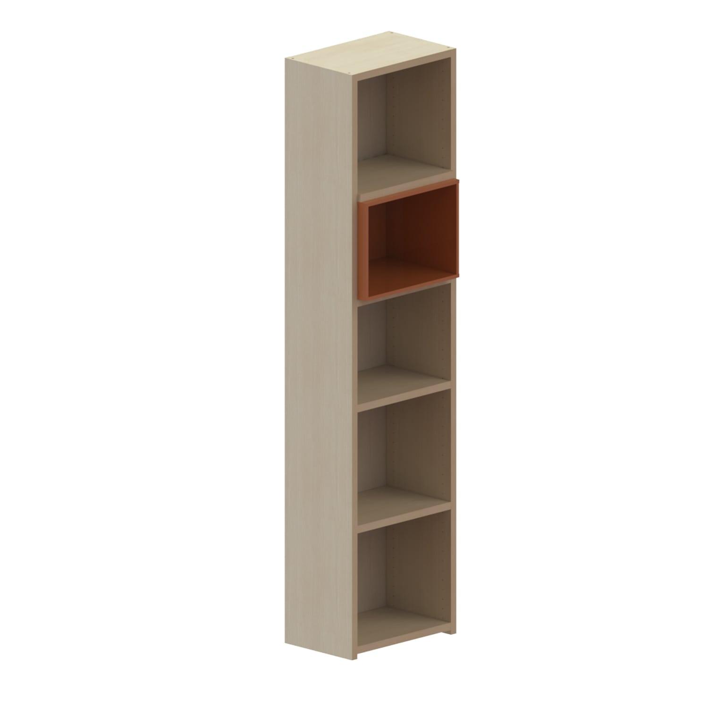 Βιβλιοθήκη Παιδική Με 1 Κουτί Dali Oak Natural-Orange 48X25X195 cm