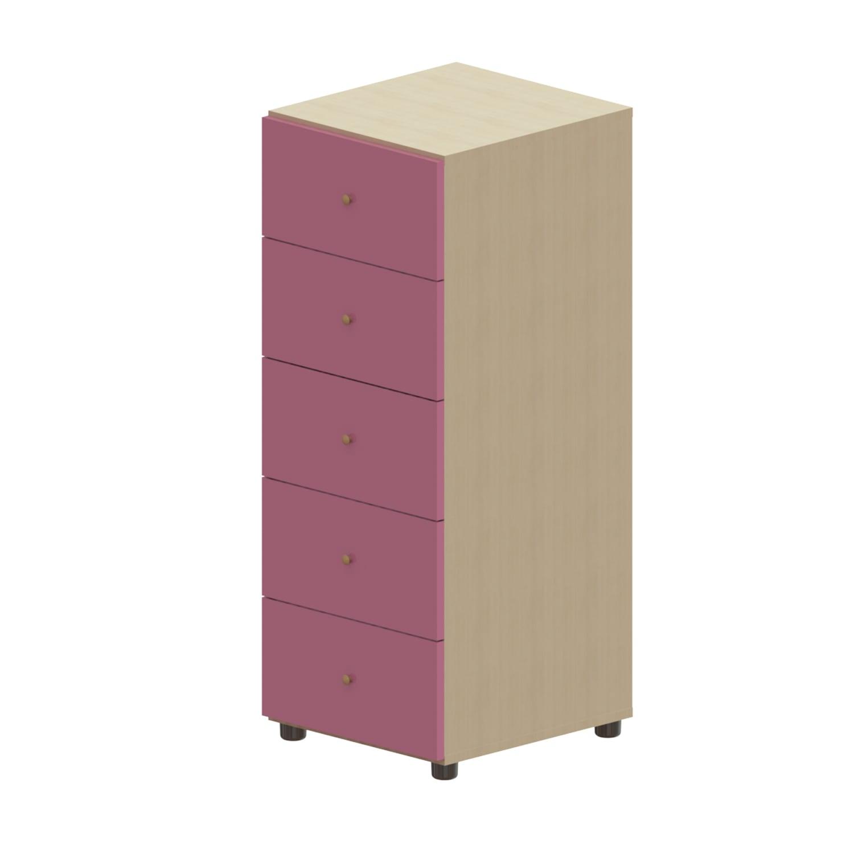 Συρταριέρα Παιδική Child 5 Oak Natural-Pink 45X48X114 cm