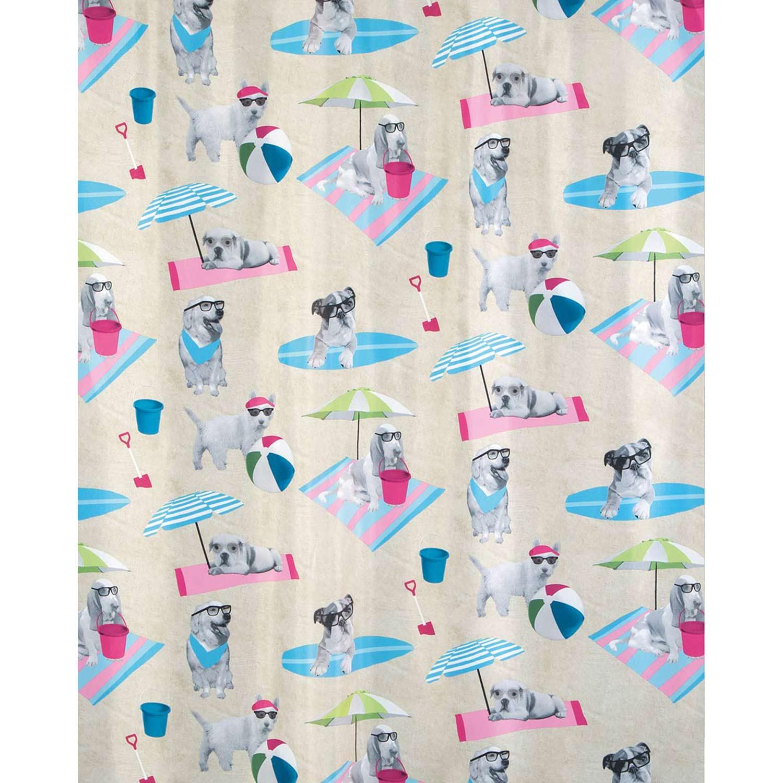 Κουρτίνα Μπάνιου Beach Dogs 02452.001 Multi 180X200 cm Spirella Φάρδος 180cm 180x200cm