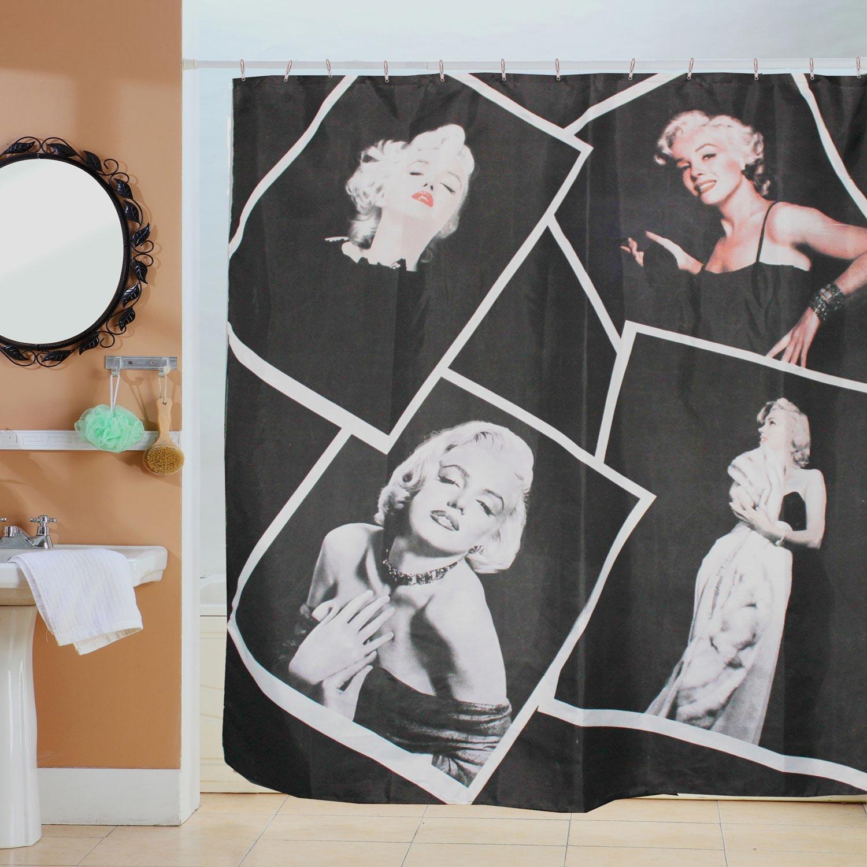 Κουρτίνα Μπάνιου Μέριλιν-1 Black-Grey 180Χ180cm Viopros Φάρδος 180cm 180x180cm