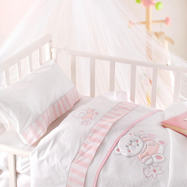 Κουβέρτα Βρεφική Πικέ Smile Pink Ρυθμός Κούνιας 120x150cm