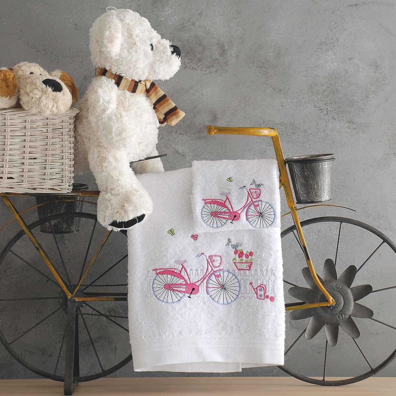 Πετσέτες Παιδικές Σετ Loulou White – Pink Ρυθμός 2τμχ Σετ Πετσέτες