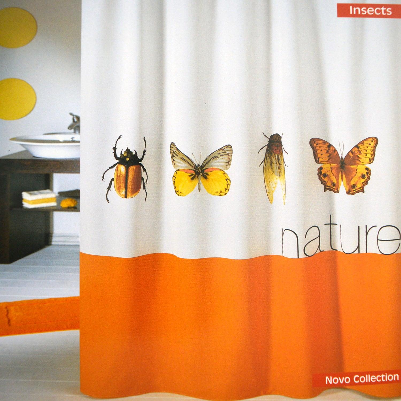 Κουρτίνα Μπάνιου Υφασμάτινη Novo Insects White-Terra Φάρδος180cm 180x180cm