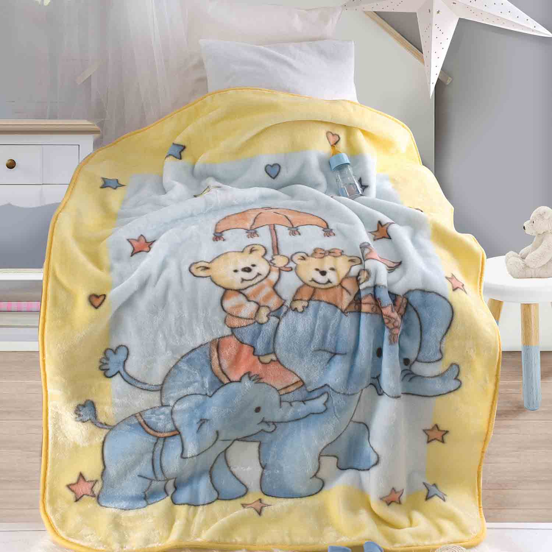 Κουβέρτα Βελουτέ Elephantini Yellow Ρυθμός Κούνιας 110x140cm