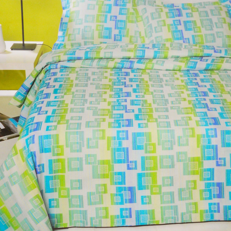 Κουβέρτα Valentini Bianco Blue-Green Υπέρδιπλo 220x260cm