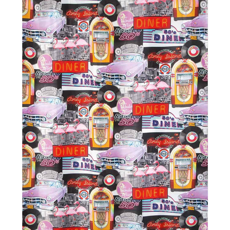 Κουρτίνα Μπάνιου Rock n Roll 02451.001 Multi 180X200 cm Spirella Φάρδος 180cm 180x200cm