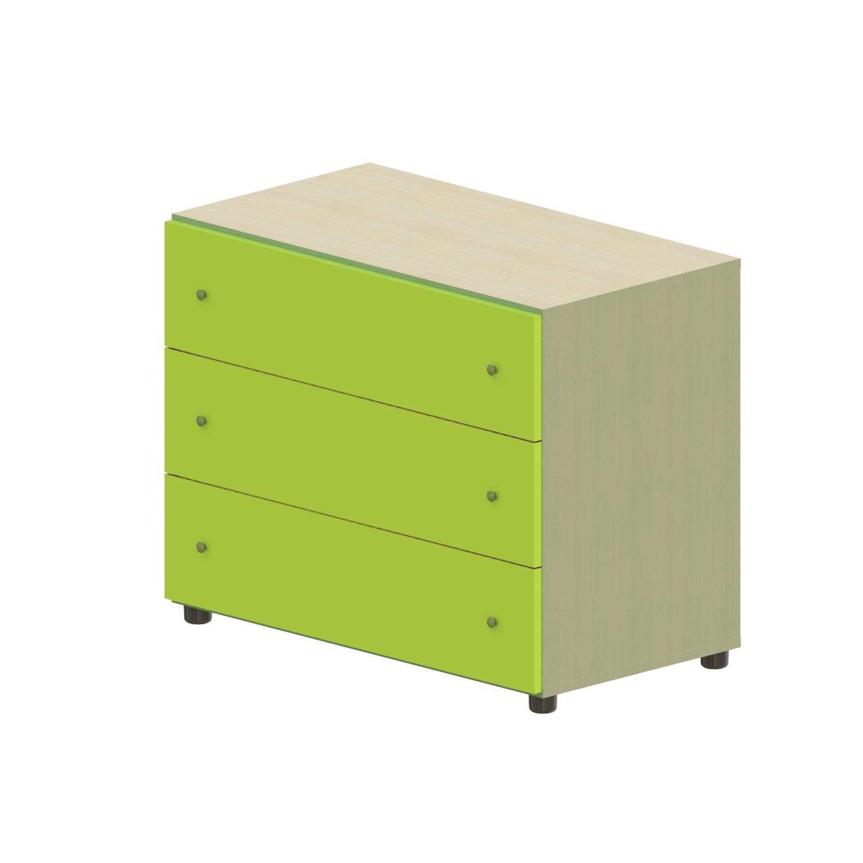 Συρταριέρα Παιδική Child 3 Oak Natural-Light Green 90X69X48 cm