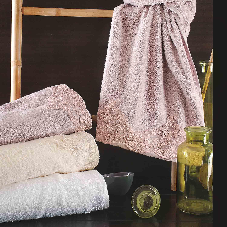 Πετσέτες Σετ με Δαντέλα Talya White Ρυθμός 3τμχ Σετ Πετσέτες
