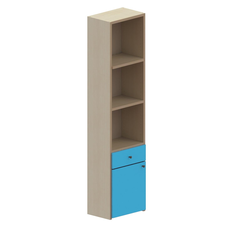 Βιβλιοθήκη Παιδική Με 1 Συρτάρι+Ντουλάπι Dali Oak Natural-Ciel 48X25X195 cm