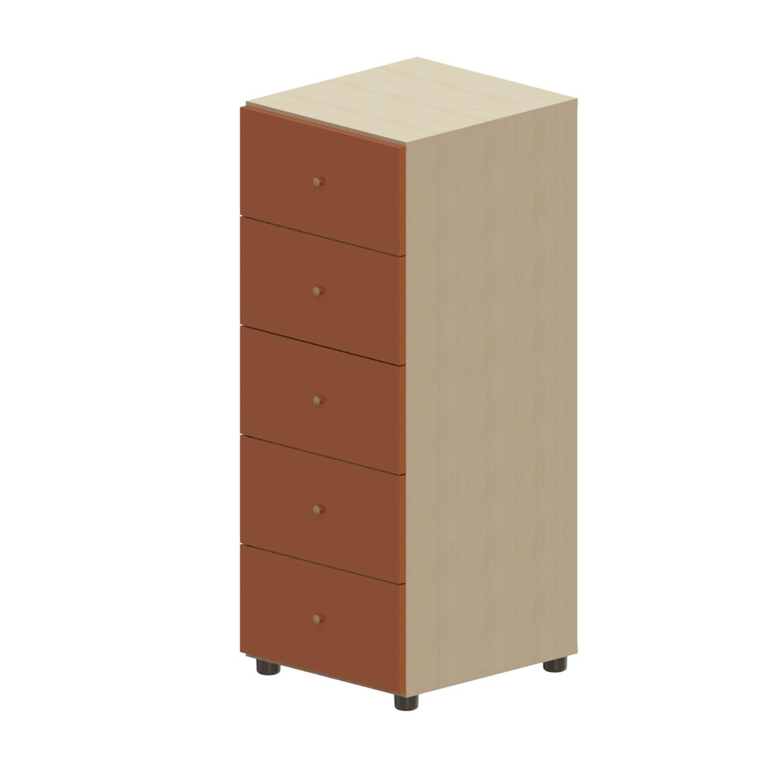 Συρταριέρα Παιδική Child 5 Oak Natural-Orange 45X48X114 cm