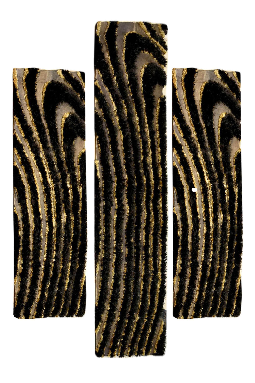 Σετ Κρεβατοκάμαρας 3Τμχ. Aslanis Χειροποίητο Waves Brown-Gold SET