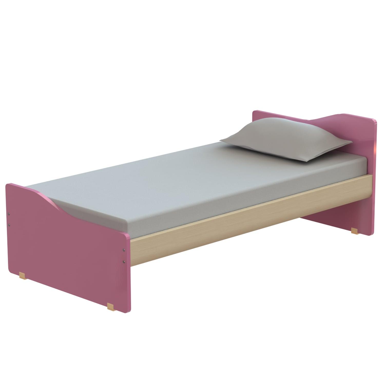 Κρεβάτι Παιδικό Tetra Oak Natural-Pink 207X100 cm Μονό