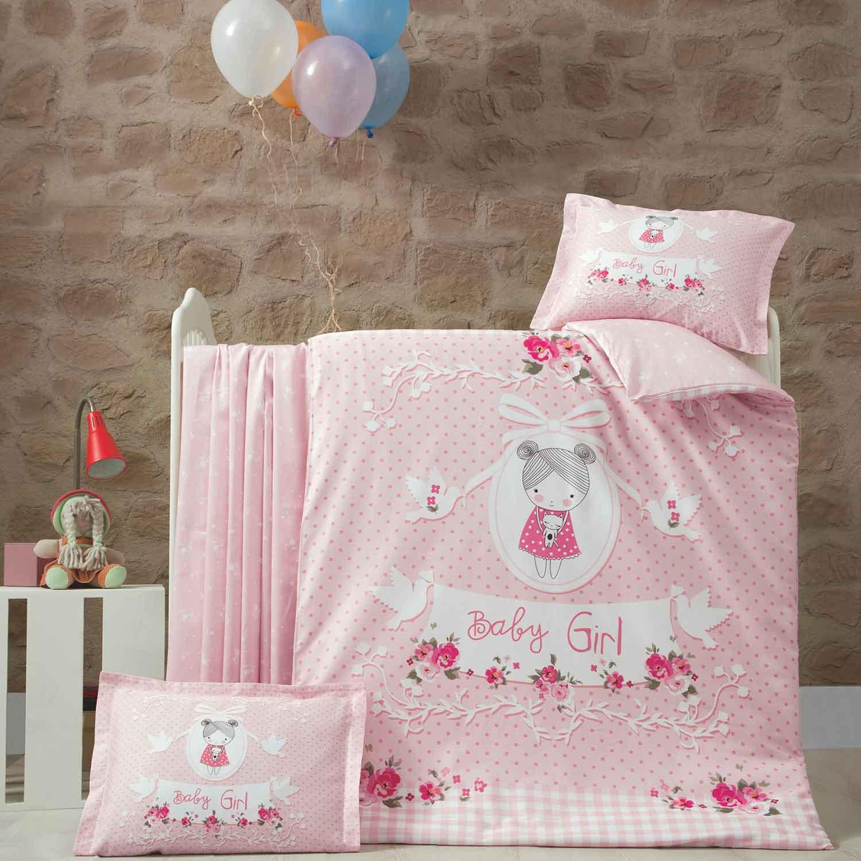 Σεντόνια Βρεφικά Σετ 3τμχ Pretty Girl Pink Ρυθμός Κούνιας 100x150cm