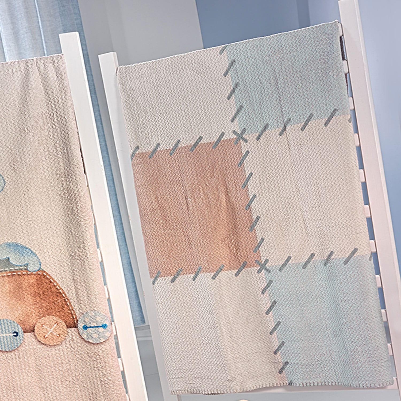 Κουβέρτα Βρεφική Βελουτέ Patchwork Blue Saint Clair Κούνιας 110x140cm