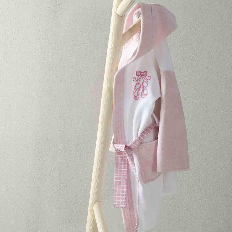 Μπουρνούζι Βρεφικό Baby Ballerina Pink – White Nima 0-2 ετών No 2