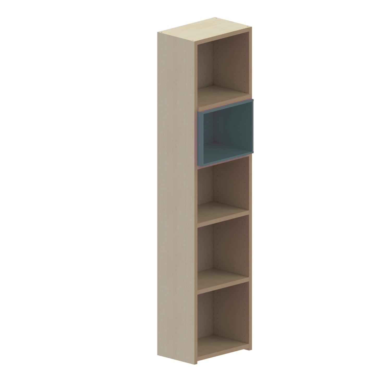 Βιβλιοθήκη Παιδική Με 1 Κουτί Dali Oak Natural-Anthracite 48X25X195 cm