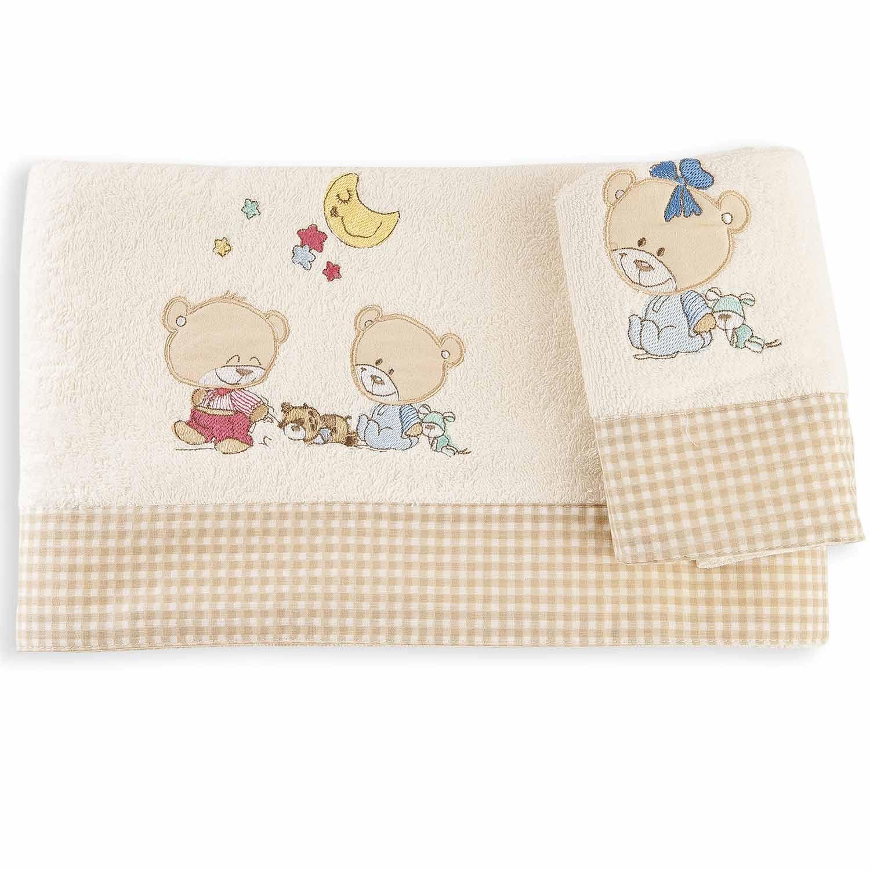 Βρεφικές Πετσέτες Σετ Happy Bears Ecru DimCol Σετ Πετσέτες 30x50cm