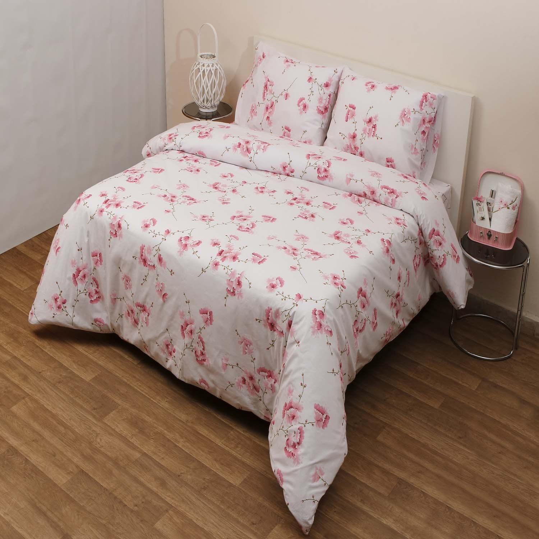 Σεντόνια Σετ 3Τμχ. Αλισον White-Pink Viopros Μονό 160x260cm