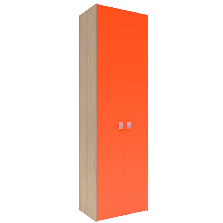 Ντουλάπα Παιδική Uno 2 Oak Natural-Orange Χωρίς Συρτάρια 90X50X213 cm Δίφυλλη